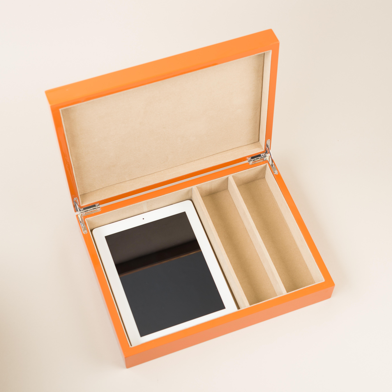 coffee table organizer in hi gloss orange