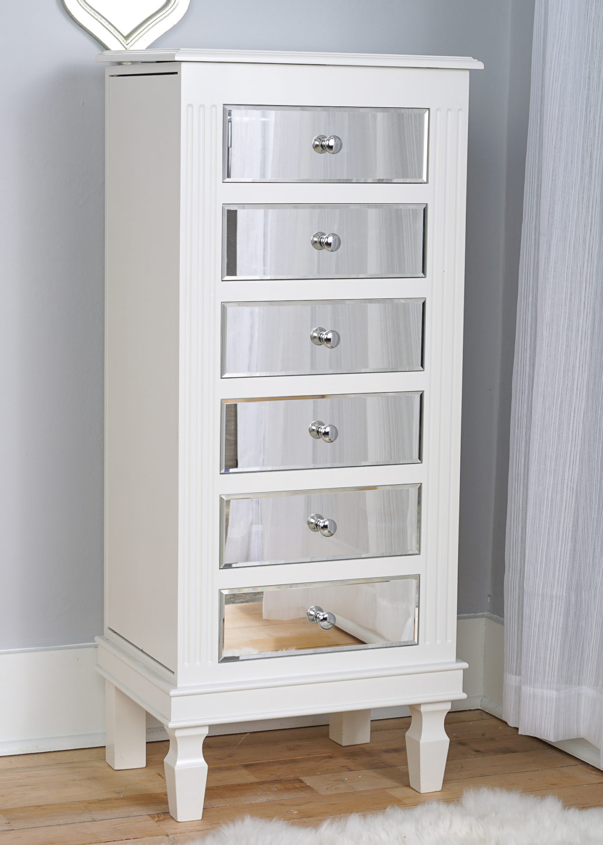 Ava Jewelry Armoire Mirrored White Hives And Honey