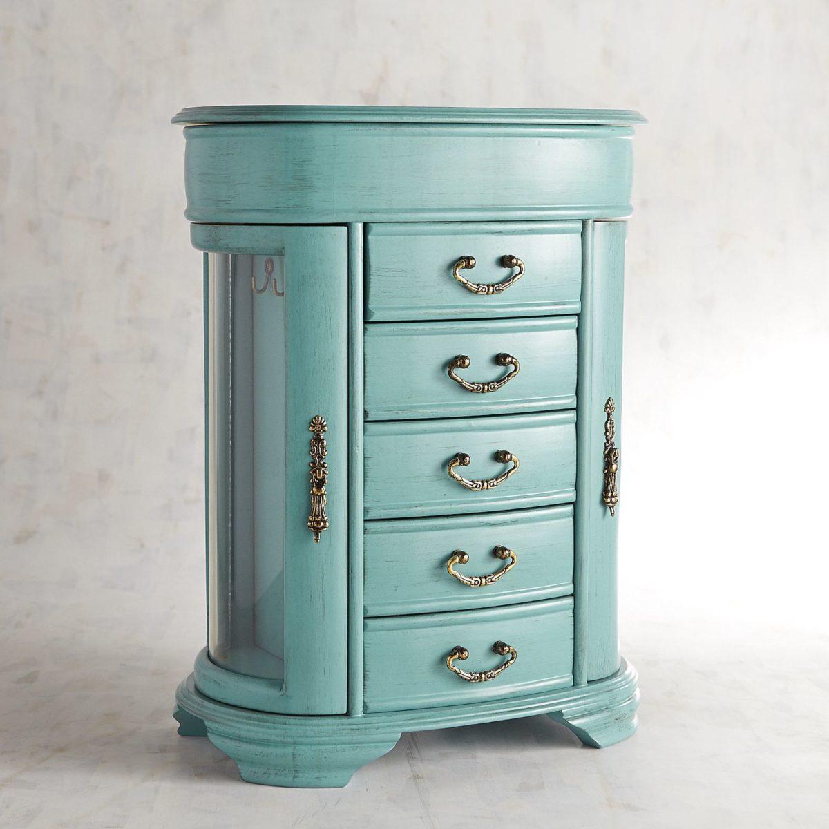 Daphne Wood Jewelry Box Turquoise