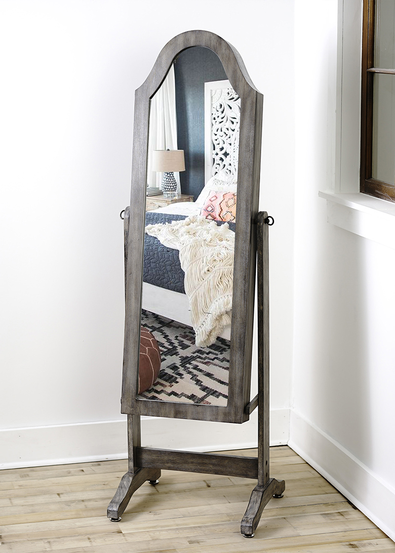 Bell Shaped Jewelry Storage Mirror Rustic Gray Hives