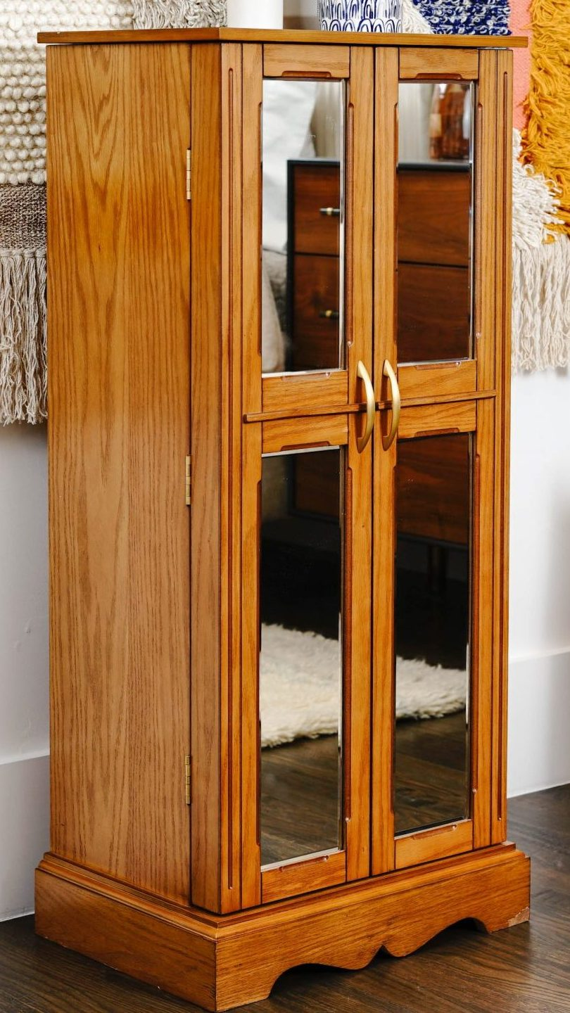 Image of: Chelsea Standing Jewelry Armoire Walnut Hives And Honey